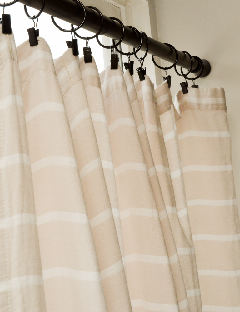 How to use a fabric shower curtain as a window treatment