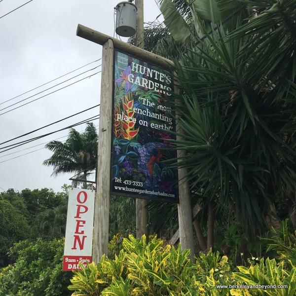 exterior sign for Hunte's Gardens in Barbados