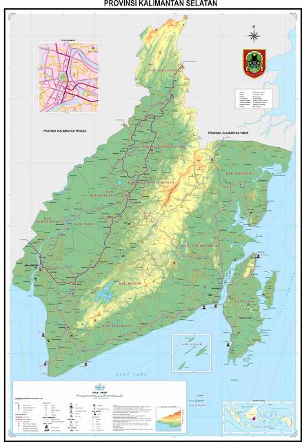 Download Peta Kalimantan Selatan Lengkap Terbaru Ukuran Besar