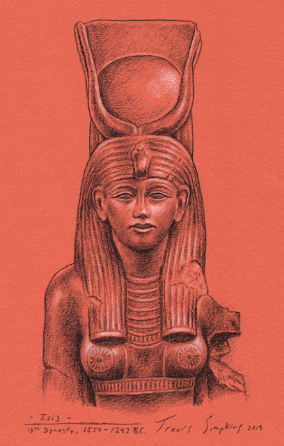Isis. Ancient Egyptian Goddess. 1550-1292 BC. 18th Dynasty. Sketch by Travis Simpkins