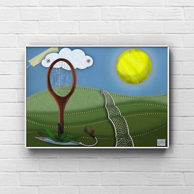 tennis ball, tennis racket, fabric art, landscape, surreal,