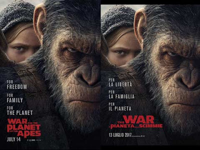 La locandina di ''War for the planet of the apes'', in italiano ''The War - il pianeta delle scimmie''
