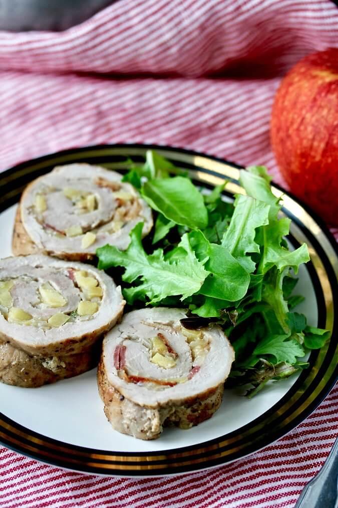 Pork Tenderloin Roll with Bacon, Apple, and Gruyère