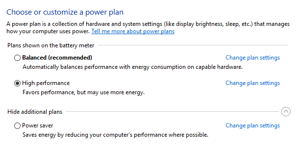 disk usage 100 windows 10 Ganti Power Plan