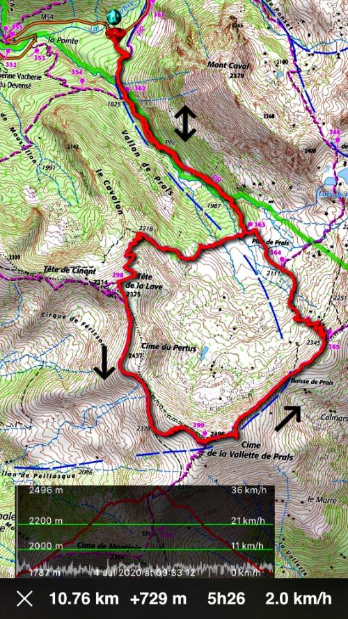 Cime de la Vallette de Prals hike track