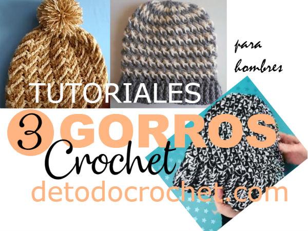 Gorros para hombres a crochet / 3 tutoriales en español | Todo crochet