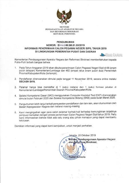 PENGUMUMAN NOMOR: B/1069/M.SM.01.00/2019 INFORMASI PENERIMAAN CALON PEGAWAI NEGERI SIPIL TAHUN 2019 DI LINGKUNGAN PEMERINTAH PUSAT DAN DAERAH