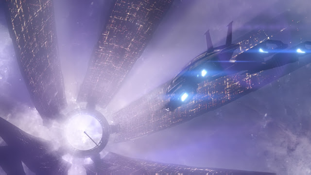 Screenshot of Normandy SR-2 making its way to the Citadel in Mass Effect 3