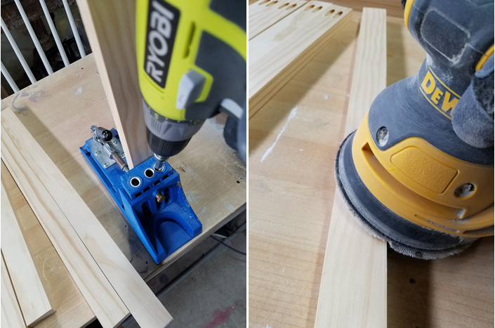 Ryobi drill, Kreg jig and Dewalt sander used for building a plate rack.