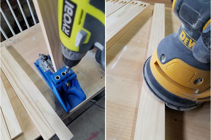 Ryobi drill, Kreg jig and Dewalt sander used for building a plate rack.