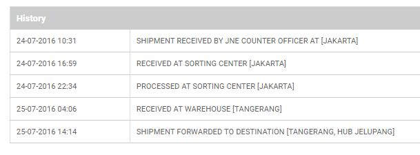 istilah baru status paket JNE