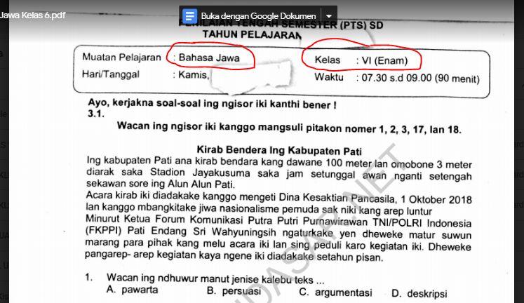 Soal Ujian Bahasa Jawa Kelas 6 Ilmusosial Id