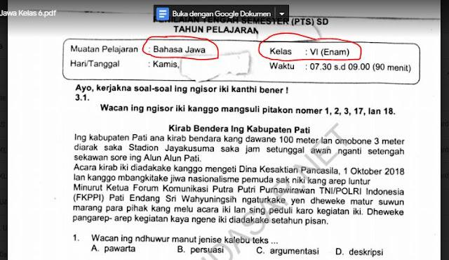 Soal Ulangan Tengah Semester 1 Bahasa Jawa Kelas 6