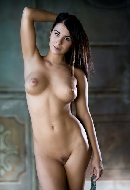 Uncensored nude art poses of attrartive woman with dark long hair and groovy perky tits pic 6