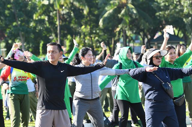 Olahraga Bersama Pangdam I/BB, Bangkitkan Antusiasme Prajurit, PNS dan Anggota Persit