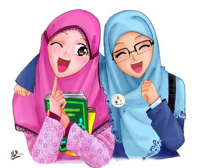 kartun persahabatan 2 muslimah