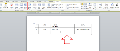 Mengatur ulang tabel di word