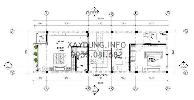 Mặt bằng bố trí tầng 2 nhà phố kích thước 5*20m
