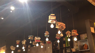 Bookish lights in my local cafe.