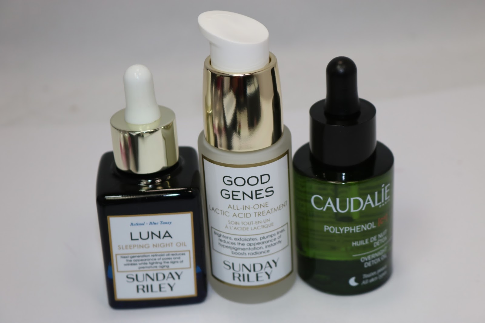 Sunday Riley Luna Sleeping Night Oil, Sunday Riley Good Genes Lactic Acid Treatment, Caudalie Polyphenol Detox Oil