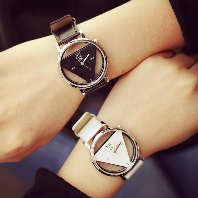 Women's Novelty Hollowed Triangular Dial Wrist Watch