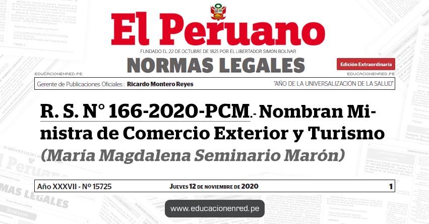 R. S. N° 166-2020-PCM.- Nombran Ministra de Comercio Exterior y Turismo (María Magdalena Seminario Marón)