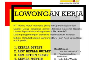 Lowongan Kerja Montir PT Techno Motor Indonesia (TMI) Bandung