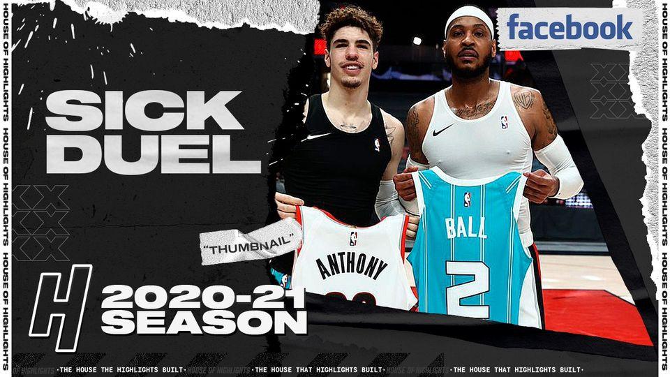 Carmelo Anthony 29pts vs LaMelo Ball 30pts   March 1, 2021   2020-21 NBA Season