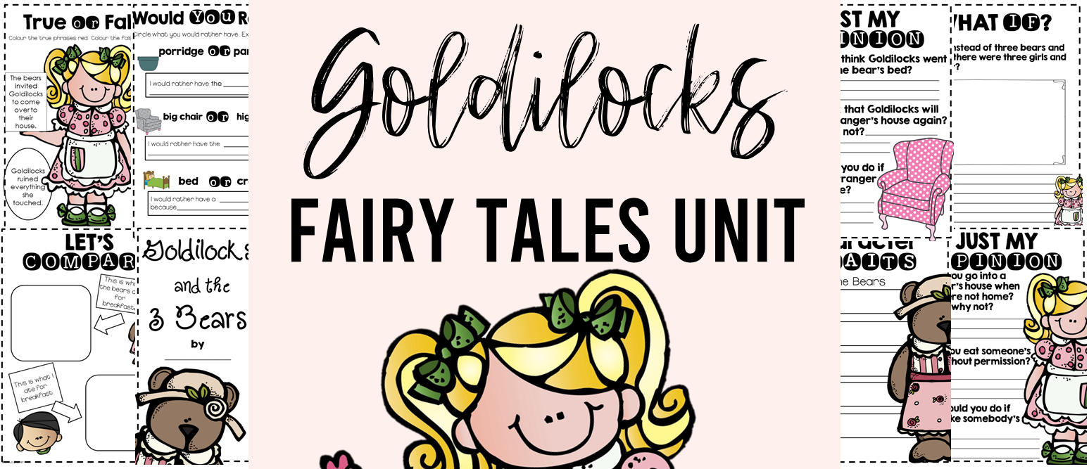 Fairy Tales unit featuring Goldilocks and the Three Bears, The Three Pigs, Cinderella, Little Red Riding Hood, The Frog Prince, and Jack and the Beanstalk. Packed with lots of fun literacy ideas and guided reading activities. Common Core aligned. Grades 1-3. #fairytales #literacy #guidedreading #1stgrade #2ndgrade #3rdgrade