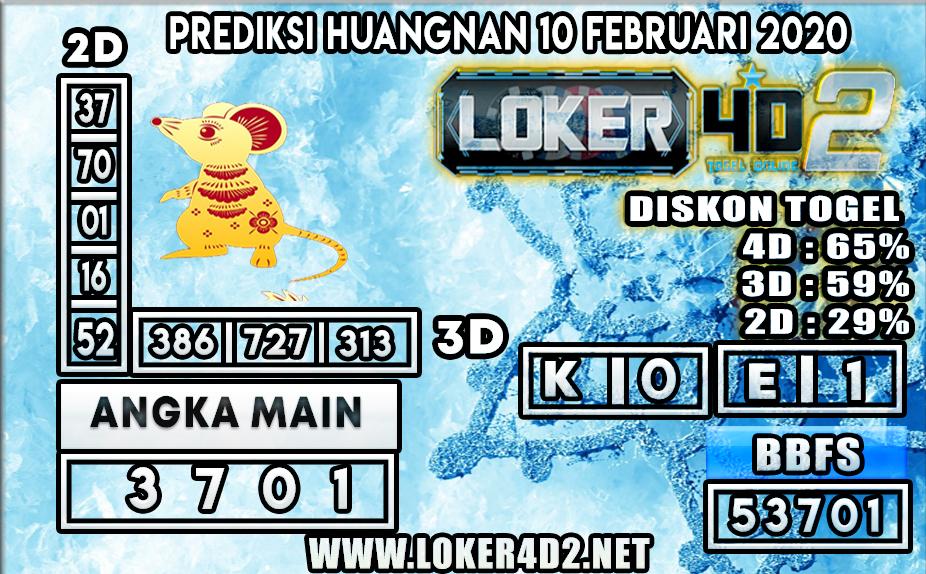 PREDIKSI TOGEL HUANGNAN LOKER4D2 10 FEBRUARI 2020