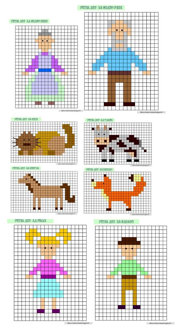 Bibouche En Classe Pixel Art Personnages Du Bonhomme De
