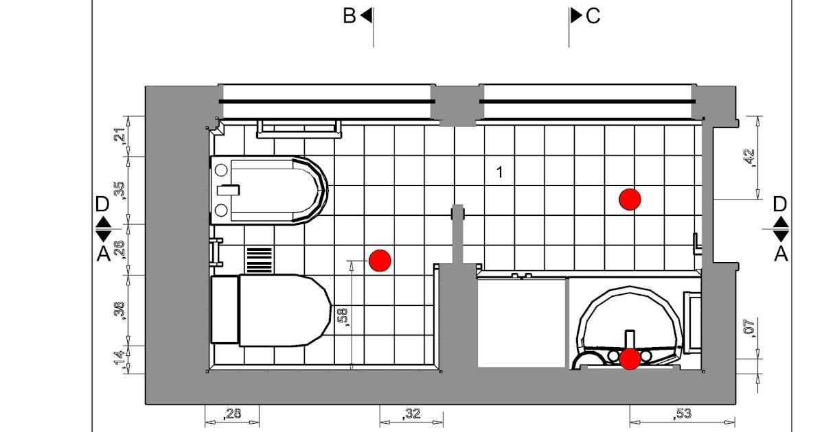 Detalles constructivos CAD: Sanitario: planta y cortes