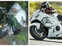 Valentino Tewas, Motor Hayabuza Supernya Kencengnya Tabrak Separator Jalan