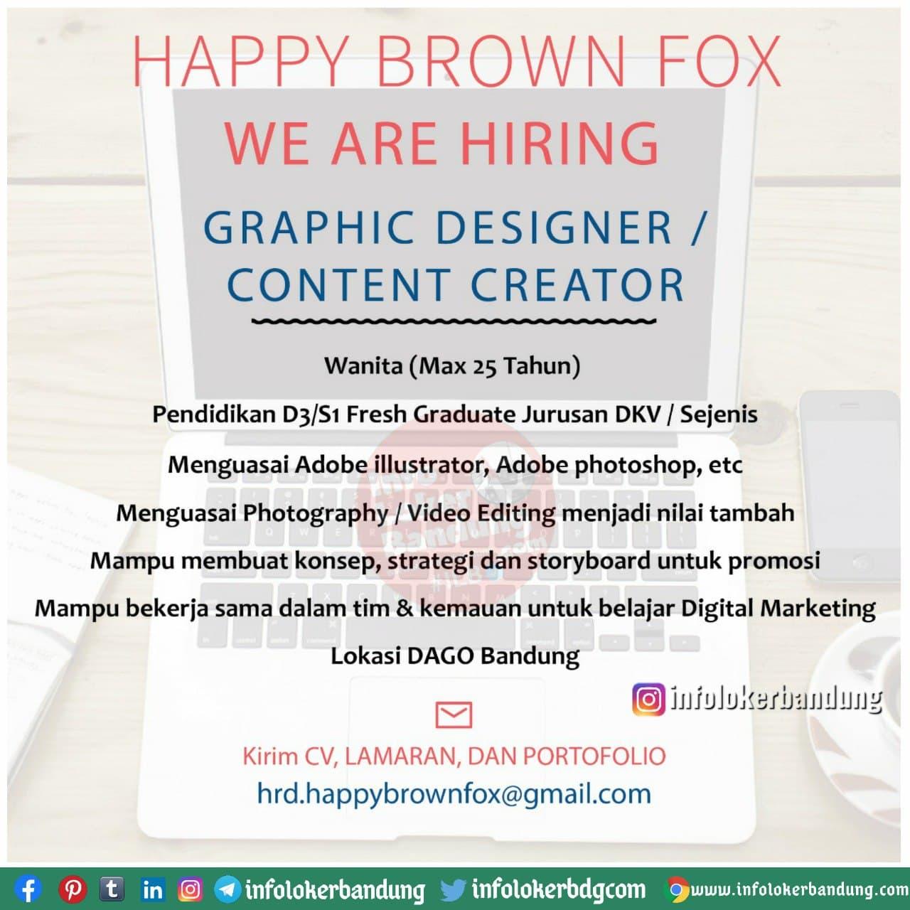 Lowongan Kerja Happy Brown Fox Bandung Januari 2021