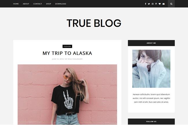 TrueBlog – Responsive Beauty Blogger Template