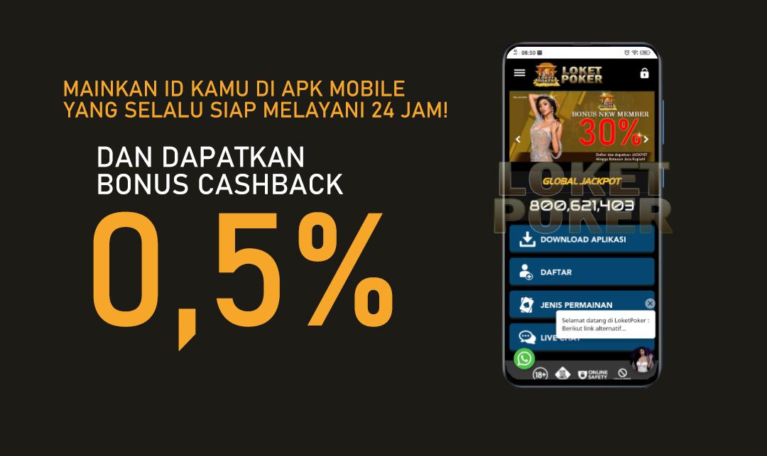 BONUS CASHBACK 0,5% DI LOKET POKER