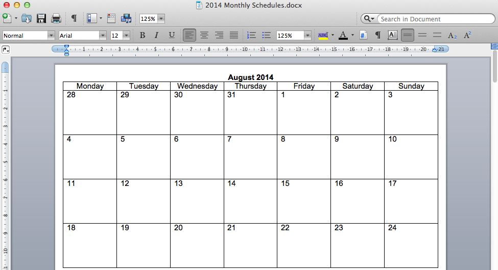 How To Create A Calendar Schedule In Word | Blank Calendar Page ...