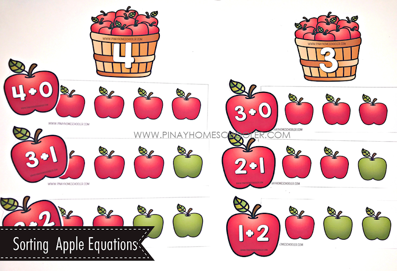 Sorting Addition Equations - Apple Theme