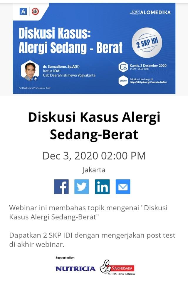 2 SKP IDI Webinar Alomedika - Diskusi Kasus Alergi Sedang - Berat-Kamis,3 Dec (14.00 WIB)