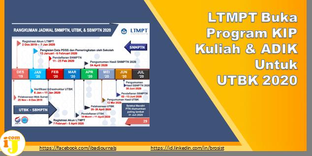 LTMPT Buka Program KIP Kuliah & ADIK Untuk UTBK 2020