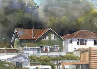 水彩画 緑の家 / GreenWall house