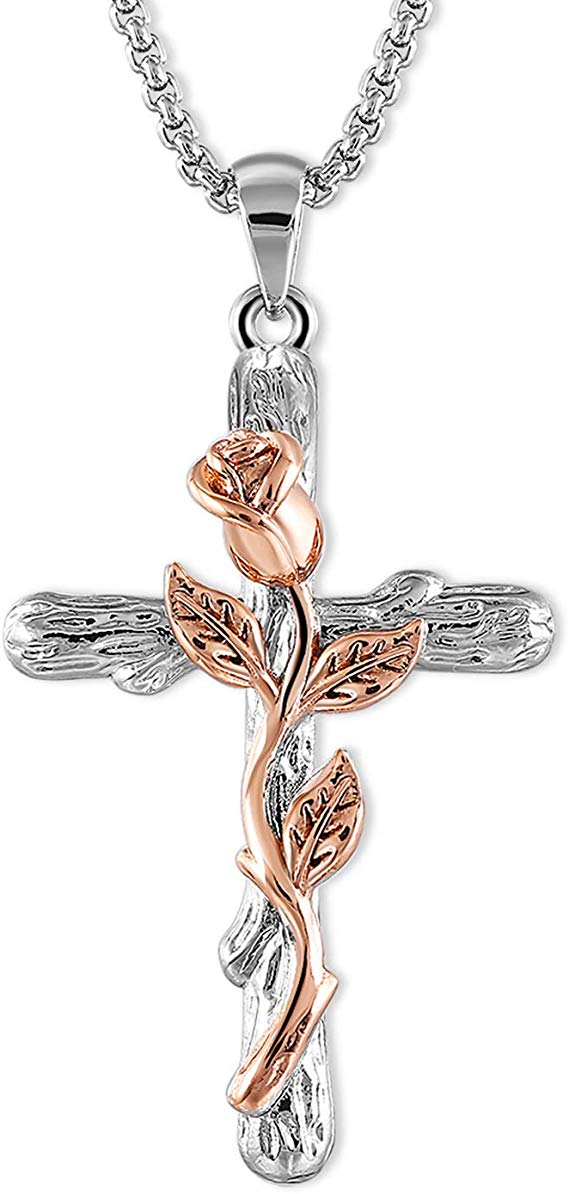 Cross Pendant Necklace for Women Rose Flower Necklace 63% off
