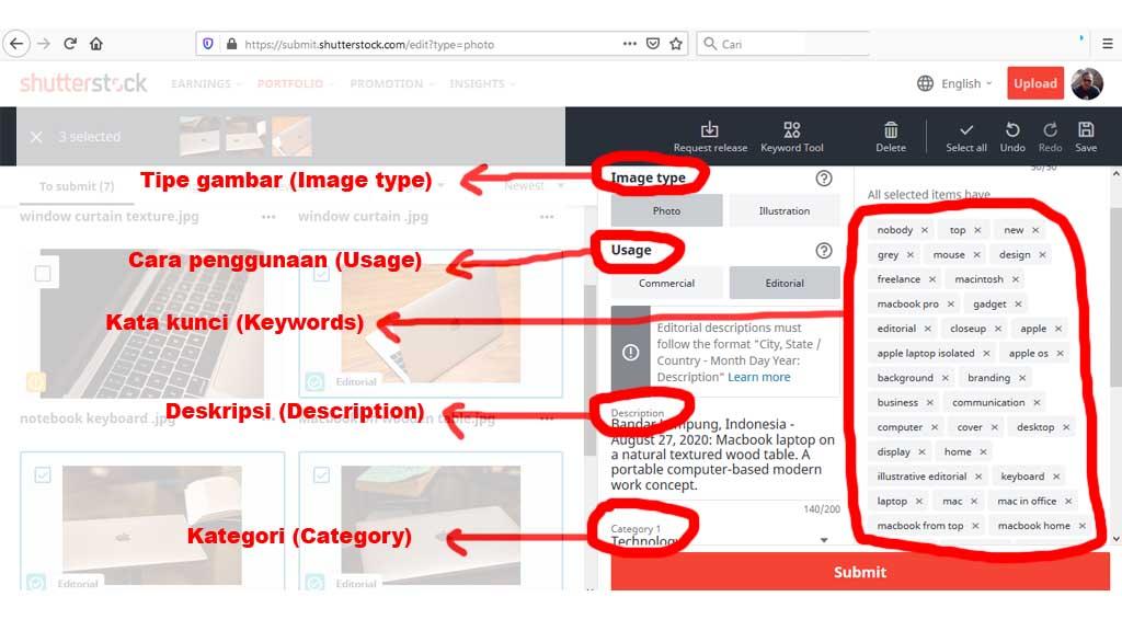 fajriology.com - 5 jenis keterangan yang perlu anda lengkapi, yaitu tipe gambar (image type), cara pemakaian (usage), kategori (category), deskripsi (description), dan kata kunci (keyword).