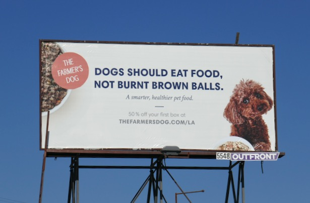 burnt brown balls Farmers Dog billboard