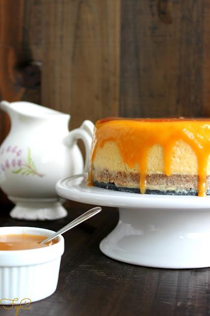 Cheesecake de chocolate blanco y caramelo
