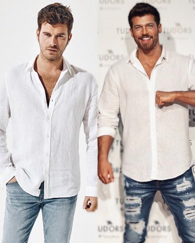 Mavi Jeans'in reklam yüzü olan Kıvanç Tatlıtuğ ve Tudors'un reklam yüzü için yeni anlaştığı Can Yaman