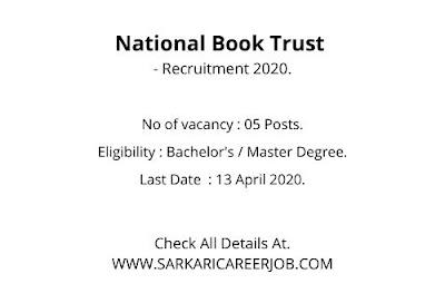 NBT Recruitment 2020 | Various Posts NBT Vacancy 2020.