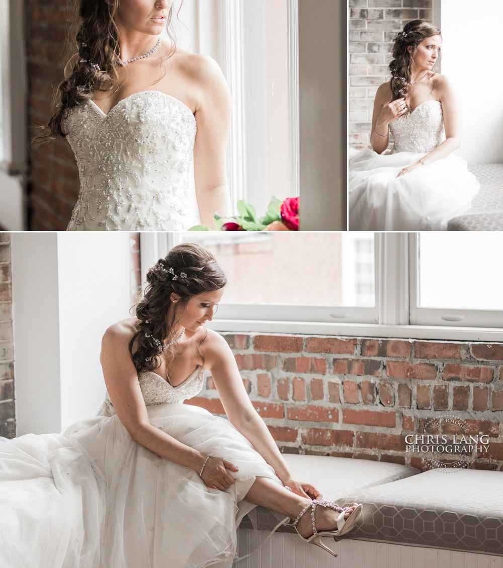 images of bride  in her wedding dress - Wilmington NC Wedding Photographers - Chris Lang Photography