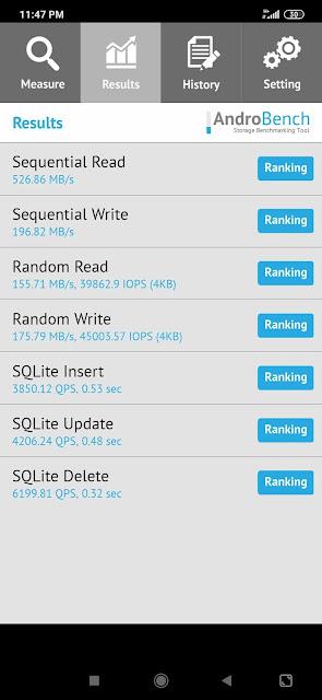 Benchmark Androbench Xiaomi Redmi Note 8 Pro