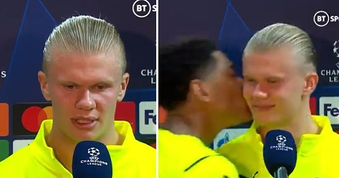 Jude Bellingham kisses Erling Haaland in interview after Borussia win in Champions League